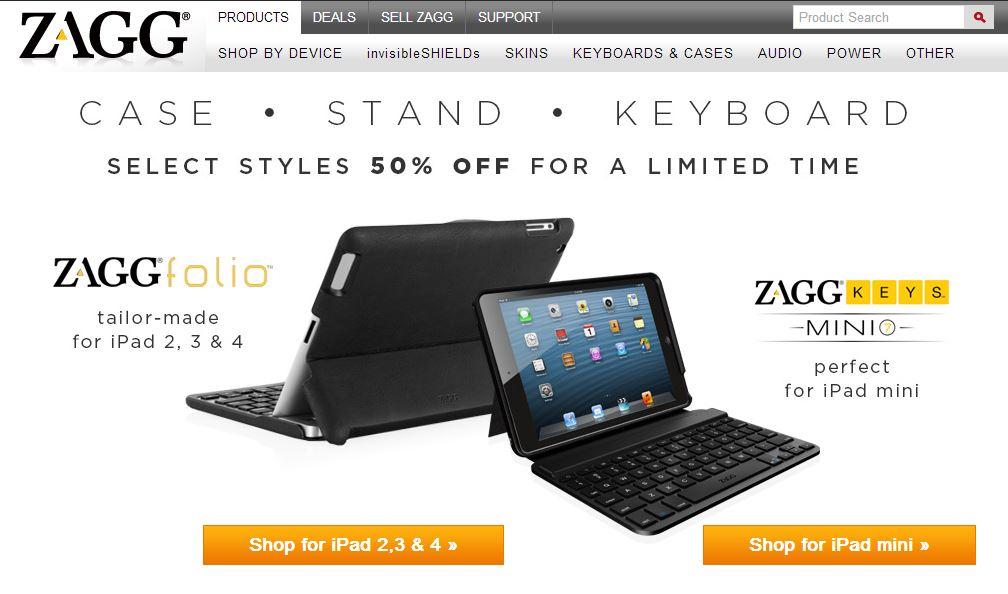 Zagg Folio and Zagg Keys Mini 7 and 9 discount 50 percent