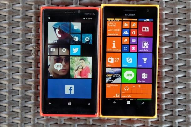 หน้าตาที่คล้ายกันมาก Lumia 920 ซ้ายและ Lumia 730 ขวา