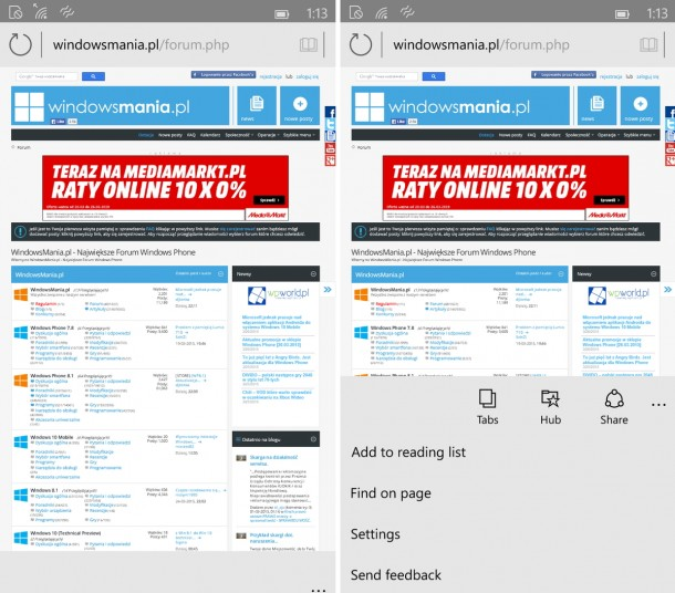 Spartan Browser on Windows 10 for phone_1