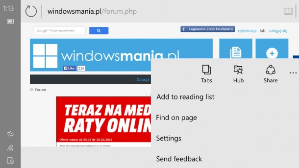 Spartan Browser on Windows 10 for phone_2