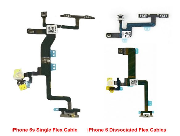 Comparison-of-a-flex-cable-used-in-the-current-iPhone-6-to-one-that-will-be-employed-by-the-iPhone-6s.-Note-the-True-Tone-flash-on-the-left-of-the-cables