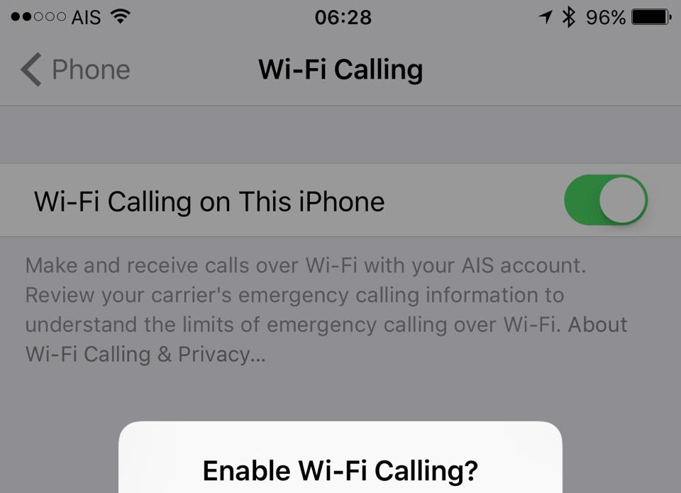 Enabling AIS WiFi Call