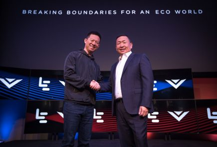 IMAGE DISTRIBUTED FOR LEECO - LeEco CEO YT Jia, left, and VIZIO CEO William Wang, right, shake hands at the LeEco and VIZIO Press Conference in Hollywood where it was announced that LeEco had acquired VIZIO for $2 billion, Tuesday, July 26, 2016 in Los Angeles. (Jeff Lewis/AP for LeEco)