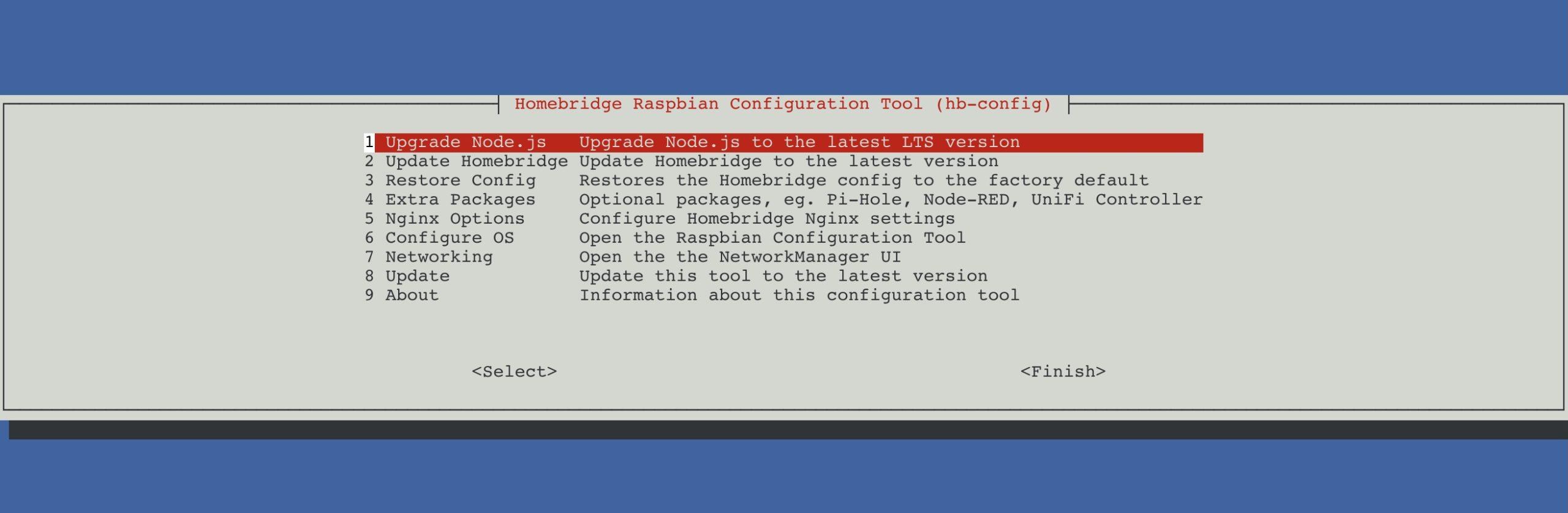 อัพเดต nodeJS ด้วย hb-config